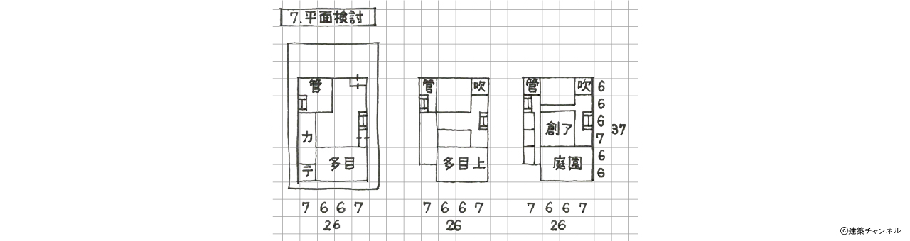 【一級建築士】設計製図の試験『エスキス解答例|平面検討』|令和元年